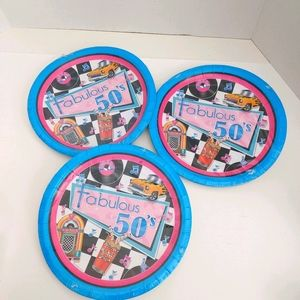Lot of 3 Fabulous 50s Party with these Paper Plate